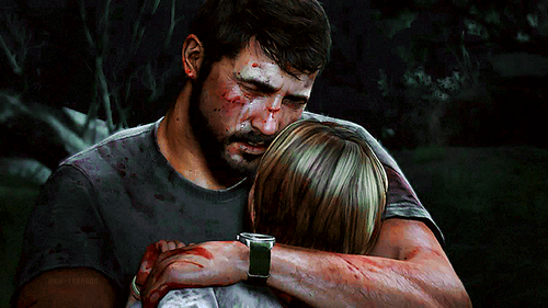 Joel holding Sarah after she has died